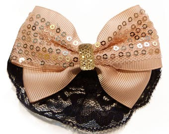 women salmon pink butterfly sequins Black Lace bow hair barrette clip