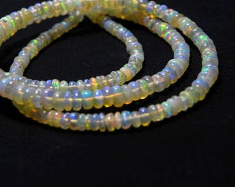 "Natural Ethiopian welo opal smooth beads 3-4 M.M. 16"" strand/necklace, welo opal roundel beads necklace, fire opal beads strand :-AJ21"