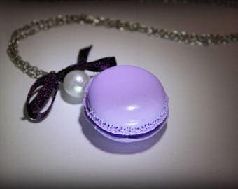 Light purple polymer clay macaroon necklace