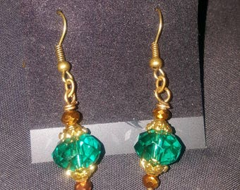 LID Enterprises, Hand Crafted Earrings Turquoise & Brown
