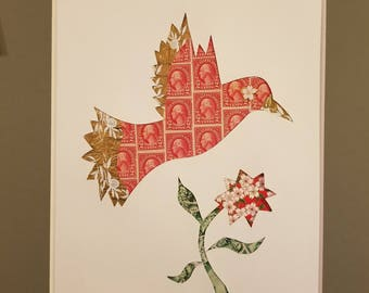 Postage Stamp Collage - Red Bird