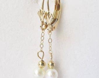 14k Gold Pearl Drop Dangle Earrings - Estate