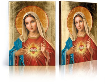 Icon Heart of Mary- handmade religious wood icon, gilded, beautiful gift, 4 sizes to choose.