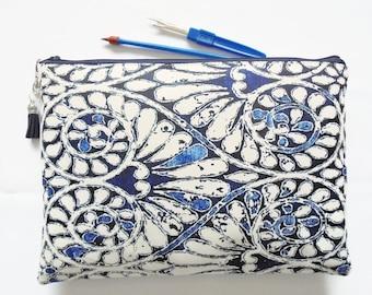 Gifts for her, Wash bag, indigo print, boho, pocket bag, travel bag, cosmetic bag, zip bag, make up bag, cosmetic pouch.