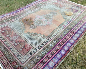 Turkish rug, Vintage rug, Area rug, Handmade rug, Nomadic rug, Wool rug, Bohemian rug,// FREE SHİPPİNG !! 157 cm x 114 cm = 5,1 ft x 3,7 ft