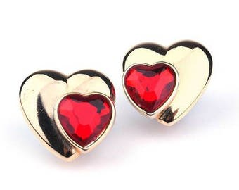 Vintage Loris Azzaro earring heart shaped with red rhinestones. French vintage