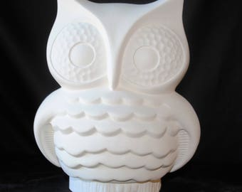 Owl on a Stump in bisque