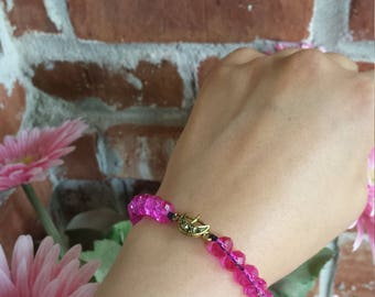 Hot pink crystal bracelet, free U.S shipping