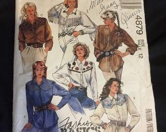 McCall's 1990 western shirt pattern size 12