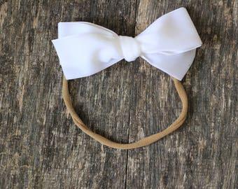 Large- Oversized- WHITE - Schoolgirl- hand tied • velvet bow • baby • toddler• Easter • hair clip • nylon headband • ADDILYN style