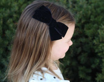 Oversized Black schoolgirl Large hand tied velvet bow for babies, toddlers and little girls clip or nude nylon headband