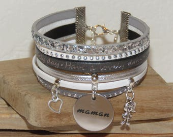 """Happy mother's day"" Cuff Bracelet leather and glitter, white, grey and silver"