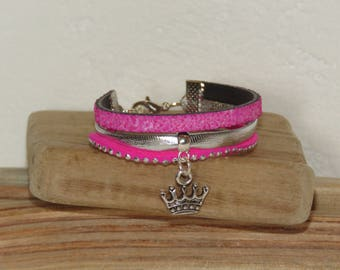 Girl, pink, silver Cuff Bracelet, leather glitter, leather, suede studded Princess Crown charm