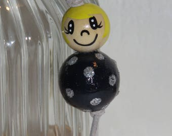"Keychain doll with wooden beads, bag charm, ""smile ball"" entirely handpainted, personalized, black"
