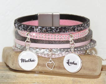 Personalized Bracelet with 2 names, band names, leather bracelet, bracelet for MOM, gift for MOM, cuff bracelet