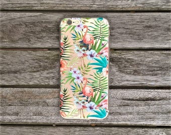 Transparent Soft TPU Gel Tropical Flamingo Design Phone Case For Iphone 6/s and 7