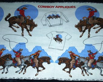 Cowboys & Horses Fabric Applique Panel