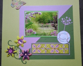 Scrapbooking page green and purple wall decor