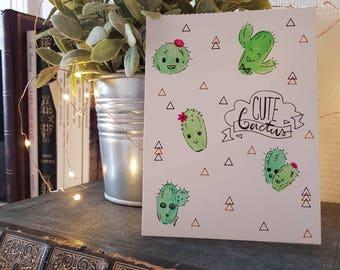 Cute Cactus watercolor card