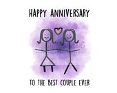 Happy Anniversary - Same Sex Couple - Gender Neutral Anniversary Card - Gay - Lesbian - Bisexual - LGBTQ