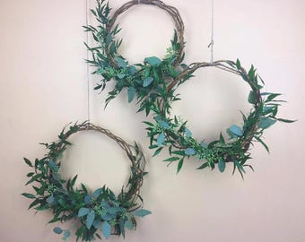 FRESH Mixed Hoops, Greenery Hoops, Wedding hoops, Eucalyptus, Flower Rings, Floral Hoops, Photo Props, Hoop Wreath, Nursery decor, wreaths