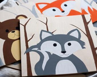 Animals hand painted on wood (6pcs)
