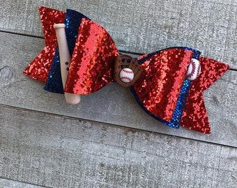 Baseball bow/ red/blue/ glitter bow