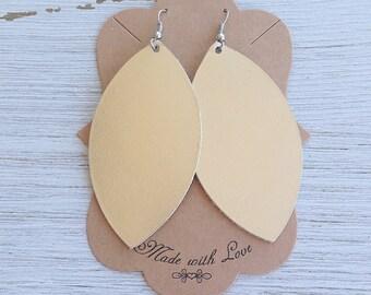 Metallic Champagne Leather Leaf Earrings, Leather Earrings, Statement Earrings, Boho