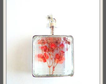 x 1 Rectangle pendant glass dried flowers red framing silver 2.85 cm x 4.8 cm