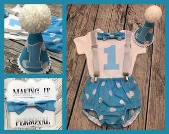 Boys 1st Birthday Cake Smash Outfit Blue White Spots Party Hat Nappy Pants Glitter Braces Bow Tie Bodysuit Glitter Vinyl 1 READY 2 POST!!