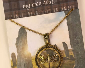 Outlander inspired jamie fraser quote necklace magnofying glass pendant with dragonfly