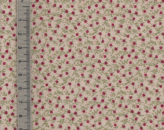 Beige has foliage and flowers red motif printed Japanese fabric