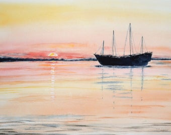 Watercolor sunset with reflections on the sea