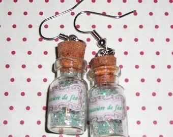 Pair of earrings vials faery dust (bottle earrings)