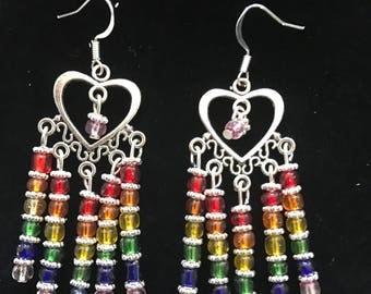 Rainbow heart chandelier earrings