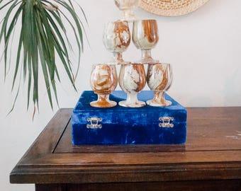 Marbled stoneware goblet set