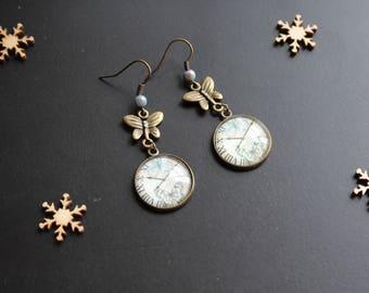 Ear Bocule, retro clock butterfly, cabchon glass