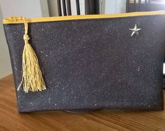 SWAROVSKI BLACK FABRIC CLUTCH BAG POUCH