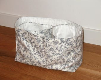 Diaper basket and 2 pouches grey Liberty style fabric