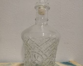 Blown stopper, engraved glass whiskey decanter