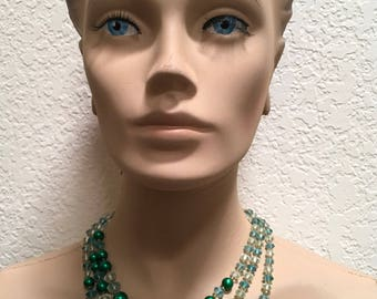 Beaded Necklace Green Tiered 3 Strand Made in Japan Vintage Jewelry
