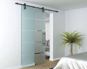 Glass Barn Door Sliding System Glass Wall Fixed Track