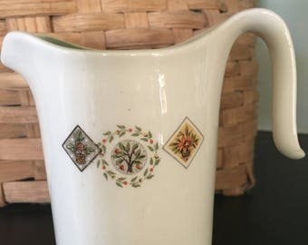 Brocatelle Ever You Creamer, mid-century Basket and Tree design creamer, green interior creamer, Taylor, Smith & Taylor ceramic creamer