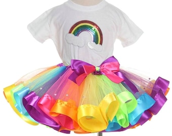 Super fluffy diamond rainbow multi color colorful girls tutu skirt with bow and rainbow top set