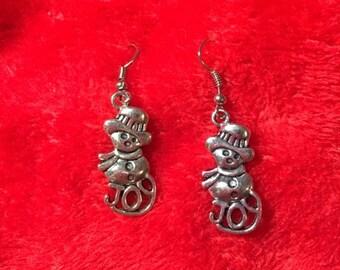 Silver Snowman Joy Earrings