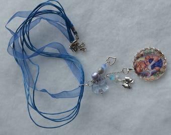 Blue disney Cinderella tattoo necklace