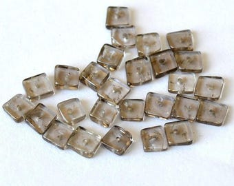 Beautiful lot of 5 square 4.5 mm smoky quartz