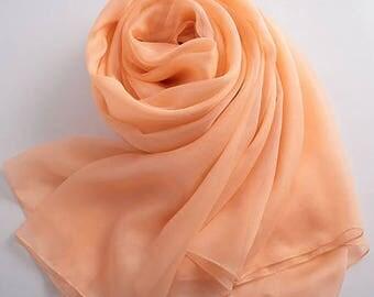 Orange pink chiffon fabric