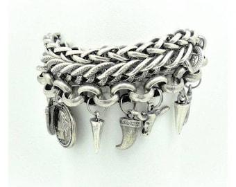 Snap bracelet, Snap jewelry, Silver bracelet, Charm bracelet, Chain bracelet, Women bracelet, Gift for her, Bracelet gift, Black and silver