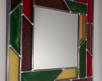 Mounting traditional leaded stained glass mirror